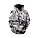 One Piece Black and White Comic Figure Pattern Long Sleeve Loose Fit Pullover Hoodie