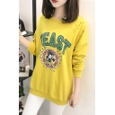 BEAST Letter Cartoon Mickey Mouse Printed Cut Out Round Neck Long Sleeves Sweatshirt