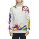 Couple Colorful Print Long Sleeve Zippered Side Pullover Hoodie