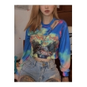 CONIA 2007 Letter Cool Eagle Printed Metal Chain Cut Out Round Neck Blue Crop Pullover Sweatshirt