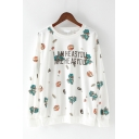 I AM HE AS YOU ARE HE AS YOU Letter Cartoon Dinosaur Printed Round Neck Long Sleeves Sweatshirt for Juniors