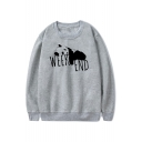 New Popular Letter WEEK END Panda Printed Round Neck Long Sleeve Pullover Sweatshirt