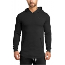 Mens New Fashion Simple Plain Logo Embroidered Long Sleeve Zipped Pocket Design Slim Fitted Casual Sports Hoodie