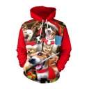 New Arrival Christmas Dog 3D Printed Red Long Sleeve Unisex Loose Hoodie