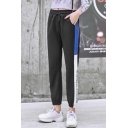 Womens New Fashion Drawstring High Waist Letter Contrast Piping Elastic Ankle Detail Casual Sweatpants