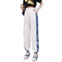 Womens Hip-Hop Street Style High Drawstring Waist Pocket Elastic Ankle Detail Letter Contrast Piping Loose Track Pants