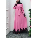 Moslem Fashion Round Neck Long Sleeve Bow-Tied Waist Lace Panelled Plain Pleated A-Line Maxi Dress