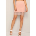 Women's Summer Simple Mesh Panel Pink Plain Fitted Mini Skirt
