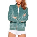 Fashion Solid Color Stand Collar Long Sleeve True Velvet Zipper Short Jacket Coat