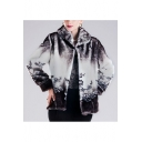 Womens Winter Luxury Floral Printed Lapel Collar Faux Mink Faux Fur Coat Outerwear
