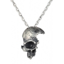 Cool Unique Vintage Half Skull Face Pendant Gothic Necklace