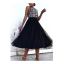 Womens Sexy Halter Sleeveless Sequined Panelled Black A-Line Midi Dress