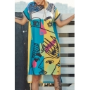 New Fashion Round Neck Short Sleeve Character Graffiti Print Color Block Letter Loose High Low Shift T-Shirt Dress