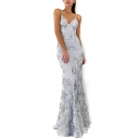 Womens Sexy V-Neck Sleeveless Tie Back Sequined Backless Plain Bodycon Eneving Maxi Dress