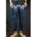Men's Popular Fashion Ombre Color Fake Pocket Blue Tapered Jeans