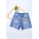 Blue High Waist CHIRIS CHIC Letter Embroidery Asymmetric Tassel Hem Denim Shorts