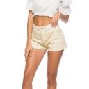Stylish Pale Yellow Slit Side Multi Pocket Fitted Chic Denim Shorts