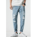 Men's Hot Fashion Simple Plain Light Blue Cool Damage Ripped Relaxed Fit Jeans