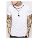 Stylish Mens Short Sleeve Round Neck Letter Cross Chain Printed White Leisure Loose T-Shirt