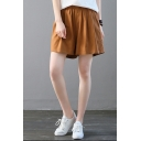 Stylish Solid Color Elastic Waist Casual Loose Linen Culottes Shorts