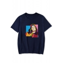 Funny Colorful Geometric Figure Printed Round Neck Short Sleeve T-Shirt