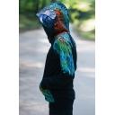Eagle Printed Black Long Sleeve Pocket Front Pullover Mens Hoodie