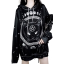 Gothic Style Black Long Sleeve Moon Cat Celestial Printed Womens Loose Straight Longline Hoodie