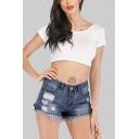 Summer Womens Hot Fashion Raw Hem Ripped Denim Shorts