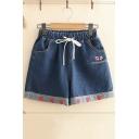 Sweet Cute Womens Drawstring Cord Strawberry Embroidered Hem Strawberry Letter Fashion Loose Denim Shorts