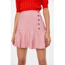 Pink High Waist Button Down Ruffle Hem Casual Loose Sweet Cute Mini Skirt
