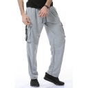 Men's New Fashion Simple Plain Loose Fit Drawstring Waist Cotton Sweatpants with Side Pockets
