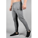 Guys New Fashion Colorblock Patched Letter Printed Drawstring Waist Casual Sports Sweatpants Pencil Pants