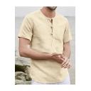 Mens Plain Short Sleeve Frog Button Front Cotton Linen Henley T Shirt