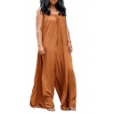 Sexy Brown Straps Sleeveless Wide Leg Casual Loose Jumpsuits