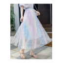 Elegant Rainbow Color High Waist Sequin Embellished Flared Mesh Midi Skirt for Dating