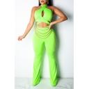 Womens Green Halter Neck Sleeveless Cutout Zip Embellished Sexy Jumpsuits