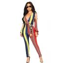 Summer V Neck Split Sleeve Self Tie Vertical Printed Bodycon Jumpsuits