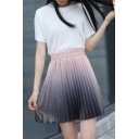 Summer Hot Fashion Pink Gradient Elastic Waist Pleated Mini A-Line Skirt