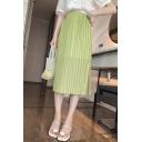 Summer Plain High Waist Split Side Casual Loose Straight Midi Pleated Skirt
