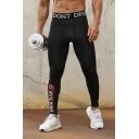 Men's New Fashion Letter BUILDING Printed Skinny Leggings Fitness Pants