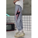 Unisex Popular Fashion Letter Lighting Printed Loose Fit Retro Hip Pop Track Pants