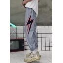 Unisex Popular Fashion Letter Lighting Printed Loose Fit Retro Hip Pop Track Pants