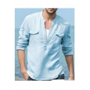 Mens Hot Trendy Long Sleeve Stand Collar Button Front Pocket Front Loose Cotton Linen Shirts