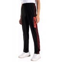 Men's New Fashion Colorblock Patched Side Zipped Pocket Elastic Waist Straight Track Pants