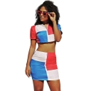 Short Sleeve Umbilical Shirt with High Waist Mini Skirt Colorblock Patch Zip Front Two Piece Set
