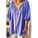 Womens Classy Plain V Neck Buff Sleeve Casual Loose T Shirt