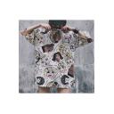 Cool Street Style Short Sleeve Round Neck Cartoon Figure Printed Oversize Cute T Shirt