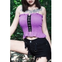 Purple Strapless Sleeveless Lace Up Front Ruffle Trim Cropped T Shirt