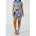Ethnic Style Tribal Printed Blue Short Sleeve Crop Tee with Mini Bodycon Skirt Two-Piece Set