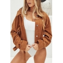 Womens Stylish Simple Plain Lapel Collar Long Sleeve Belted Waist Short Corduroy Jacket